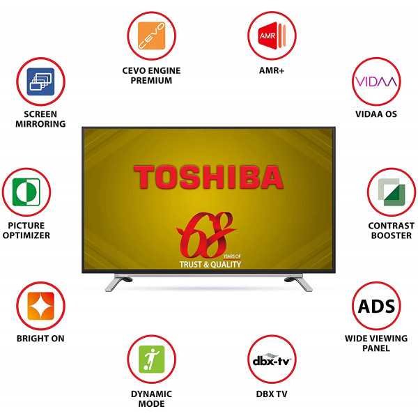 Toshiba 80 cm (32 inches) Vidaa OS Series HD Ready Smart ADS LED TV 32L5050 (Black) (2020 Model)