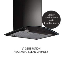 Glen Auto Clean Chimney GL 6066 Black 1200m3/hr 60cm