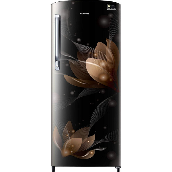 Samsung 192 L 3 Star Direct Cool Single Door Refrigerator(RR20T172YB8 , Blooming Saffron Black, Inverter Compressor)