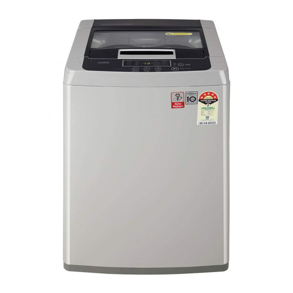 LG 6.5 Kg 5 Star Smart Inverter Fully-Automatic Top Loading Washing Machine (T65SKSF1Z, Middle Free Silver)