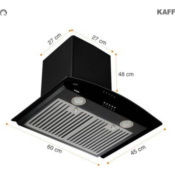 Kaff ACE BF 60 Wall Mounted Chimney  (Matte Black 1000 CMH)