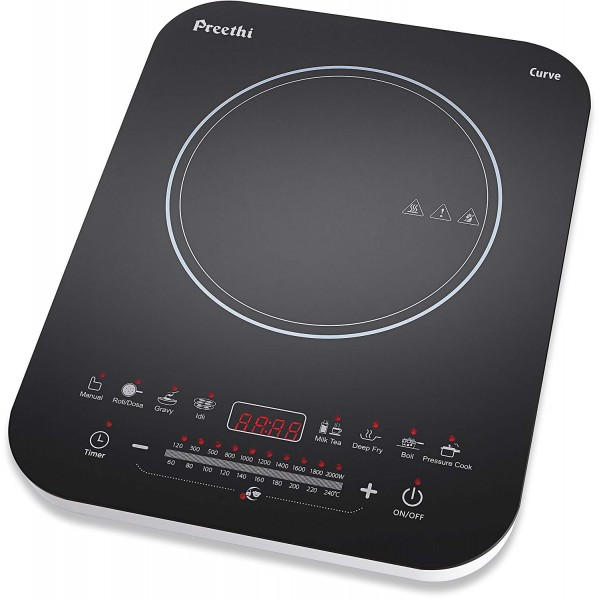 Preethi Curve IC 120 2000-Watt Induction Cooktop (Black and White)