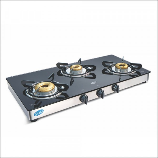 Glen Glass 3 Burner Gas Stove, Black (CT1033GTXLFBDD)