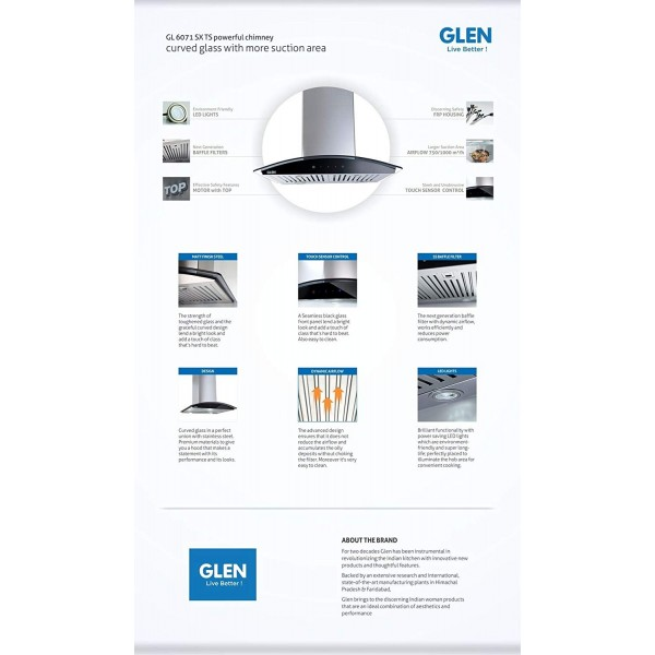 GLEN GL 6071 SX 60 1000m3 BF LTW Wall Mounted Chimney  (Stainless Steel)