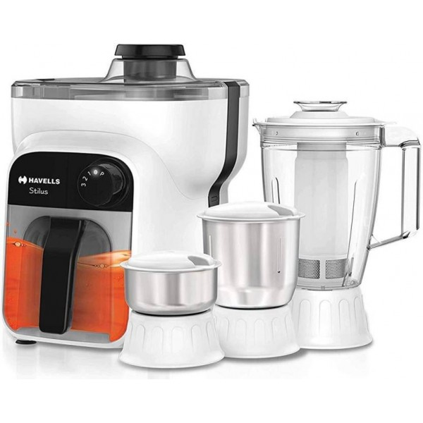 Havells Stilus 500 Watt Juicer Mixer Grinder with 4 jar (White/Black)
