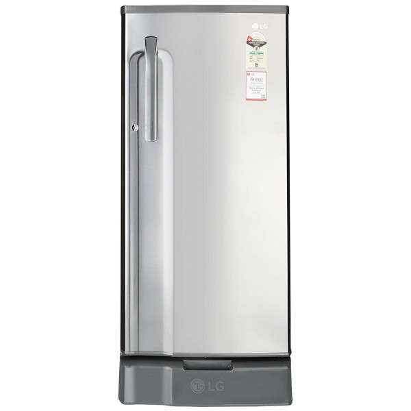 LG 188 L 1 Star Direct Cool Single Door Refrigerator(GL-D191KPZU.APZZEBN, Silver, Base Stand with Drawer)