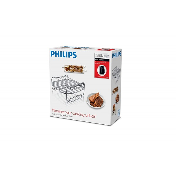 Philips FBA_HD9904/00 HD9904/00 Double Layer Rack with Skewers, for Compact Model Airfryers, Silver