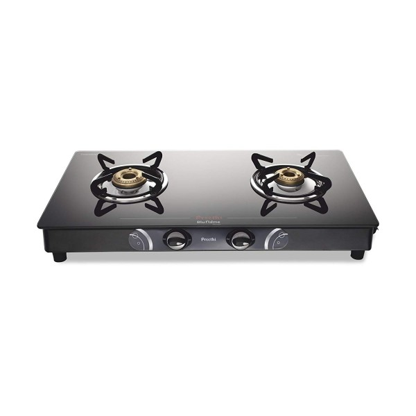 Preethi Blu Flame Gleam Glass Top 2-Burner Gas Stove,Black