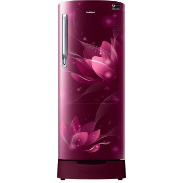 Samsung 192 L Direct Cool Single Door 3 Star (2020) Refrigerator with Base Drawer  (Saffron Red, RR20T282YR8/NL)
